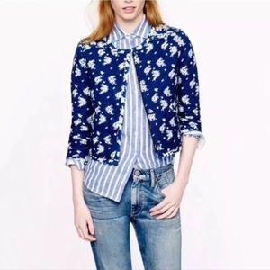 J. Crew Indigo Blue Floral Quilted Jacket Size 2